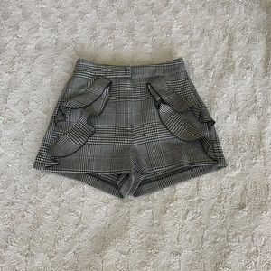 Zara Basic Collection Plaid Grey Ruffled Shorts